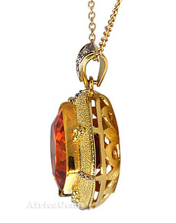 Interesting & Unique Fiery Orange Sphalerite Gemstone Custom 18 kt Yellow Gold Pendant by Yuri -- - SOLD