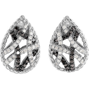 Intricate 1/2 ct Pear Shape Post Back Earrings With Black and White Diamond Overlapping Designs - SOLD