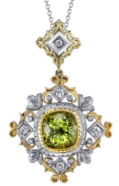 Intricate Detail 2-Tone 18 karat 2 Tone Gold Hand Crafted Pendant set with 3.64 carat Cushion Peridot Gem - 0.26 cts Diamond Accents