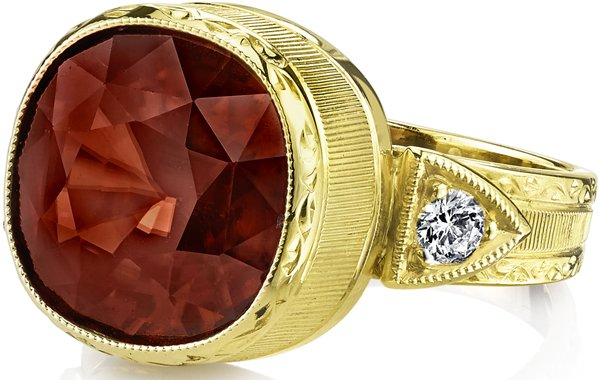 Intricate Hand Crafted 18kt Yellow Gold Ornate Ring With 10.35ct Cushion Orange Zircon - Diamond Side Gems