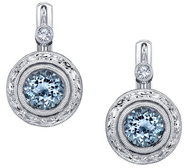 Intricate Handmade 6mm Round Aquamarine Bezel Set Earrings in 18kt White Gold - Yellow Diamond Accents