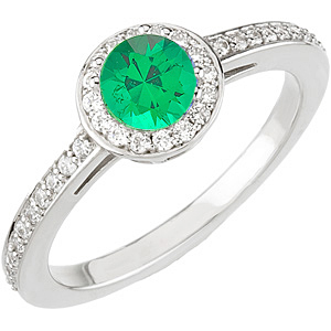 Intricate Pave Diamond White Gold Ring set with Low Price on Round Natural .25ct 4mm Emerald Deep Green Gem
