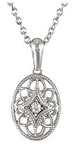 Intricate Sterling Silver Oval Pendant with .03ct Diamond Accent - FREE Chain Included