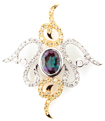 Intricate Two-Tone 14k White and Yellow Gold Brazilian Alexandrite Pendant With Diamond Accents - 0.55 carats