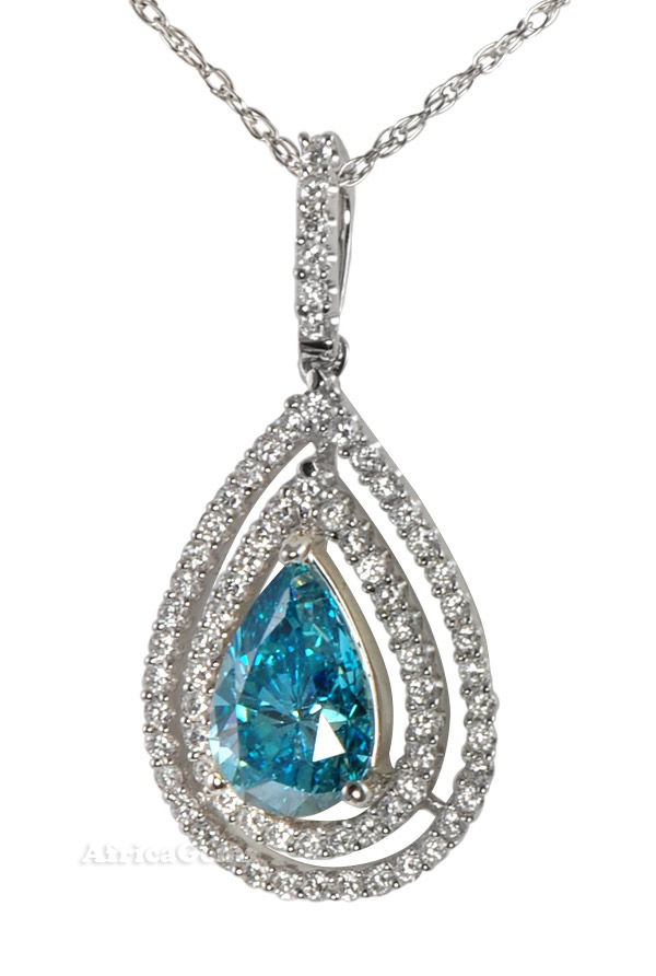 Irradiated Blue Diamond set with Micro Pave Diamond Pendant  - SOLD