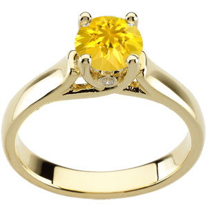 Irresistable & Cheerful Yellow 1 carat 6mm Sapphire Solitaire Engagement Ring - Bezel Set Diamond Accents