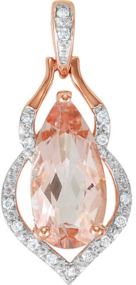 Irresistible 1.67ct 12x6mm Pear Shaped Morganite Pendant in 14k Rose Gold and Diamond Accents for SALE - FREE Chain With Pendant