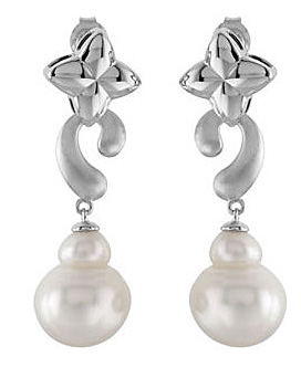 Irresistible 14.8ct 11mm South Sea Paspaley Circle Pearl Dangle Earrings With Unique Sterling Silver Design