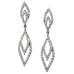 Irresistible Reflection Style .5 ct Diamond Studded Earrings in 14k White Gold for SALE