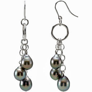 Irresistible Tahitian Cultured Pearl Multi Strand Dangling Earrings in Sterling Silver for SALE - SOLD