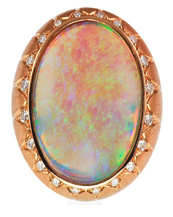 It's Alive! Fiery Lighting Ridge Black Opal & Diamond Custom Gemstone Ring  - SOLD