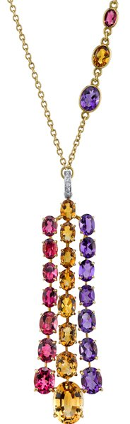 Italian Made Luca Carati Stunning Tourmaline, Citrine & Amethyst Dramatic 18kt Yellow Gold Colorful Gemstone Pendant