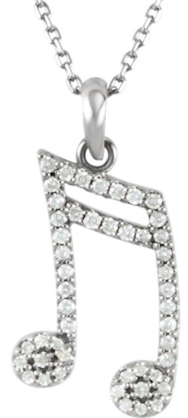 Jazzy Sixteenth Note Diamond Pendant in 14k Gold - 1/5ct .8-1mmDiamond Accents - FREE Chain
