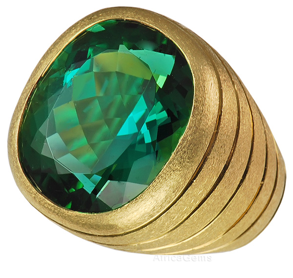 Jumbo Spectacular Bright Green Tourmaline Bezel set in Handmade Ring - SOLD
