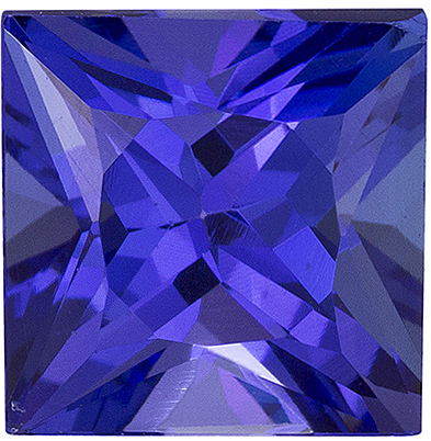 Killer Color in Tanzanite Gem in Princess Cut, Xtra Rich Blue, 7.2 mm, 2.44 carats
