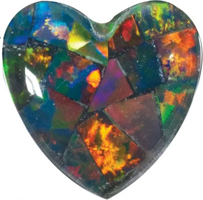 Lab Created Black Mosaic Opal Heart Cut in Grade GEM