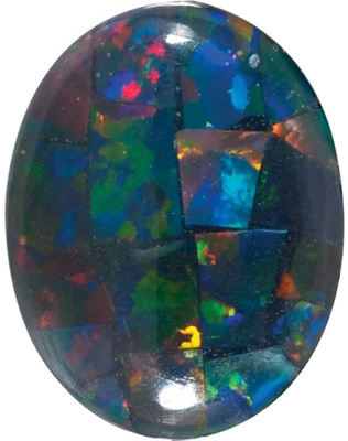 Lab Created Black Mosaic Opal Oval Cut in Grade GEM