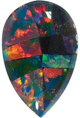 Lab Created Black Mosaic Opal Pear Cut in Grade GEM