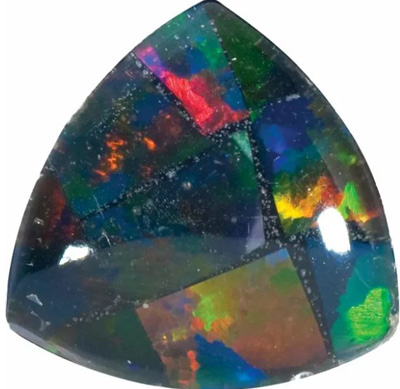 Lab Created Black Mosaic Opal Trillion Cut in Grade GEM