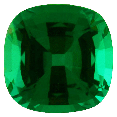 Lab Created Chatham Created Emerald Gemstone, Antique Square Shape, Grade GEM, 4.00 mm in Size, 0.3 Carats
