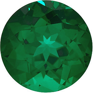 Lab Created Chatham Created Emerald Stone, Round Shape, Grade GEM, 3.25 mm in Size, 0.13 Carats