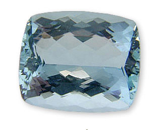 Large Faceted Loose Aquamarine Gemstone, Cushion USA Cut 12.22 carats