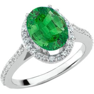 Large GEM 1.35ct 8x6mm Grade Tsavorite Oval Gemstone Mounted in A Graceful Diamond Pave 14 kt White Gold Ring