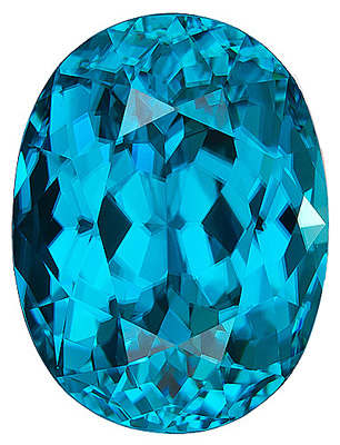 Large, Gorgeous Blue Zircon Natural Gemstone from Cambodia, Oval Cut, 10.42 carats