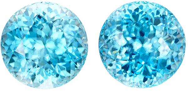 Large Impressive Zircon Round Pair in Beautiful Rich Blue Color in Huge 10.5 mm, 16.1 carats