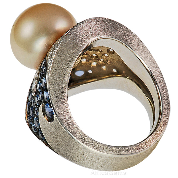 Large Perfect Natural Pearl Handmade Ring set with Swirls of Sapphire And Diamonds - SOLD