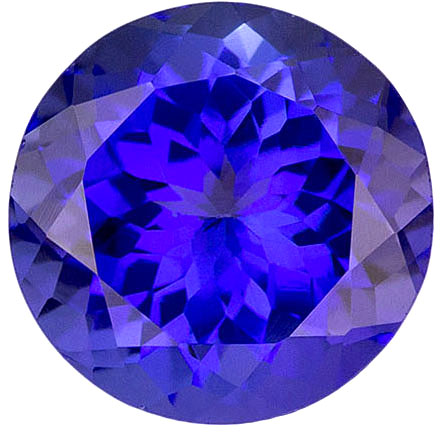 Large Round Loose Tanzanite Gemstone in Round Cut, Rich Purple Blue Color, 8.80mm, 3.2 carats