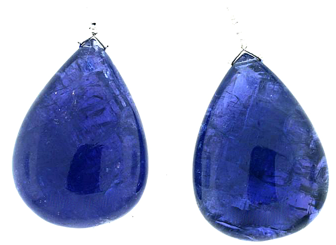 Largest GEM Very Rare Gorgeous Briolette Tanzanite Gemstone Pair, 141.60 carats for SALE