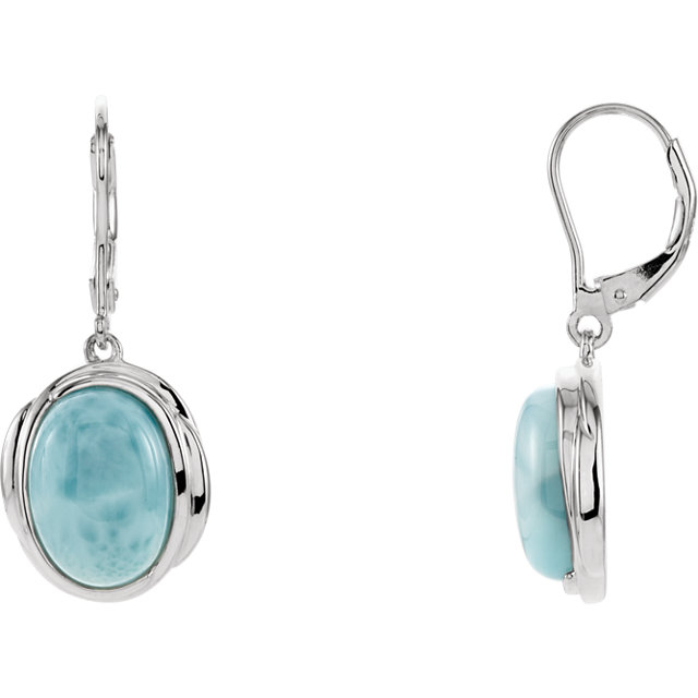 Contemporary Larimar Lever Back Earrings