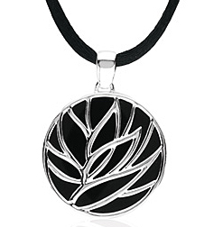 Lavish 14.63ct 27mm Onyx Pendant set in Sterling Silver - Leaf Design Against Onyx Background - Free Chain - SOLD