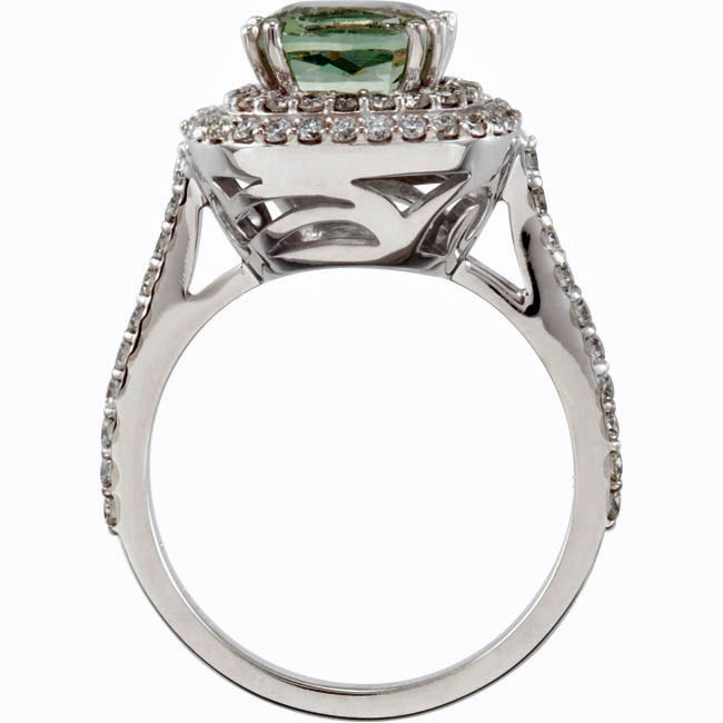 Lavish and Elegant Green 2.95ct 8mm Quartz Ring With a Double Frame of Pave Diamonds