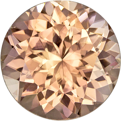 Light Champagne Brown Zircon Genuine Gem in Round Cut, 8.4 mm, 3.59 Carats
