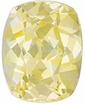 Light Pure Yellow Sapphire for SALE, 6.6 x 5.2 mm, Cushion Cut, 1.13 carats