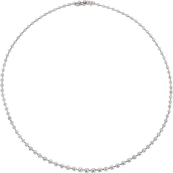 Line Style 14 Karat White Gold 5 Carat Total Weight Diamond Necklace