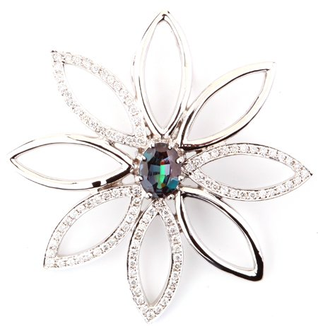 Lively and Lovely Star Burst Genuine Alexandrite Flower Pendant With Diamond Accents - 0.51 carats, 7.09 x 4.73 mm