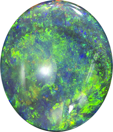 Lively Black Opal Loose Gemstone in Oval Cut, Fire Pattern, 13.1 x 11.4 mm, 4.57 carats