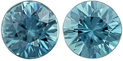 Lively Blue Zircon Well Matched Gemstone Pair in Round Cut, 1.44 carats, Vivid Teal Blue, 5 mm