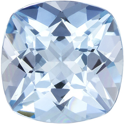 Lively & Bright Aquamarine Gemstone in Cushion Cut, Medium Rich Blue, 8.2 mm, 2 carats