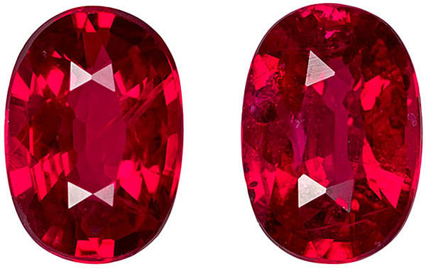 Lively Bright Ruby Well Matched Pair in Oval Cut, Vivid Rich Red, 6 x 4.1 mm, 1.33 carats