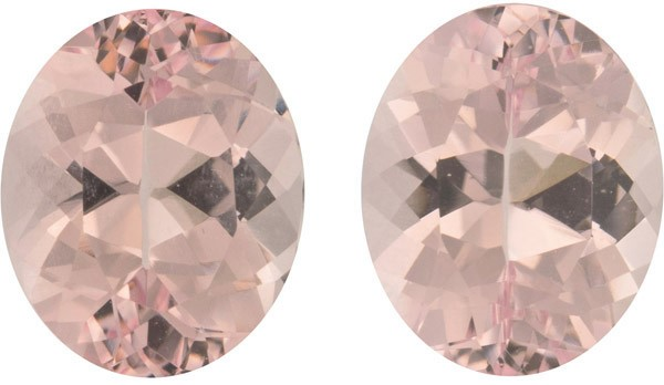 Lively Oval Matched Morganite Pair, Strong Peachy Pink Color in German Cut, 10.2 x 8.2 mm, 5.18 carats