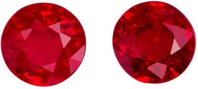 Lively Ruby Round Cut Well Matched Gemstone Pair, Vivid Pure Red, 4.8 mm, 1.08 carats