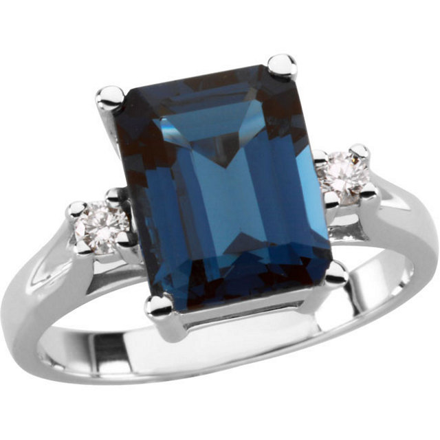 Chic Emerald Genuine London Blue Topaz & Diamond Accented Ring