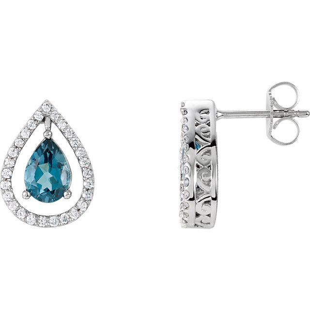 Perfect Jewelry Gift London Blue Topaz & Diamond Earrings