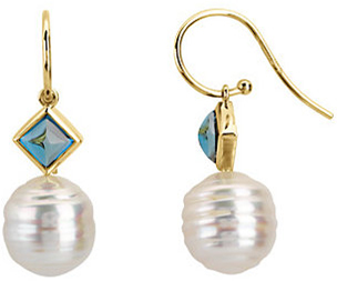 London Blue Topaz Earrings & Pearl Earrings or Semi-mount