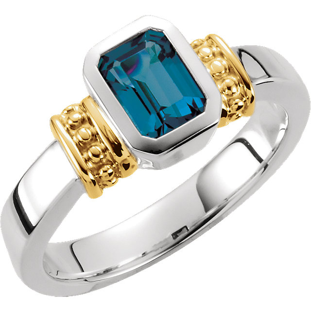 Striking Emerald Genuine London Blue Topaz Granulated Design Ring