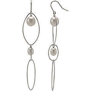 Long and Dangly 6-9.5mm Rice Freshwater Pearl Earrings with Elliptical Sterling Silver Wire Loops - SOLD